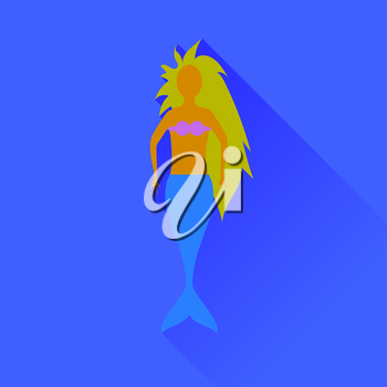 Mermaid Icon Isolated on Blue Background. Long Shadow