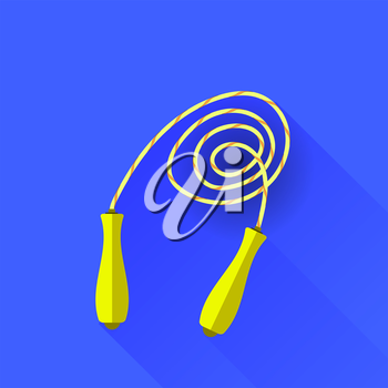 Yellow Skipping Rope Isolated on Blue Background. Flat Design. Long Shadow