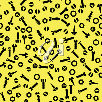 Metal Bolt and Nut Seamless Pattern on Yellow Background