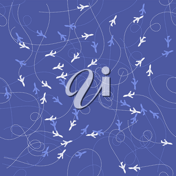 Track of Planes Seamless Pattern Isolated on Blue Background