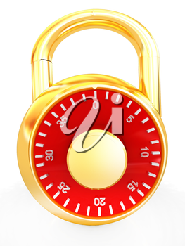 Illustration of security concept with metal locked combination pad lock on a white background
