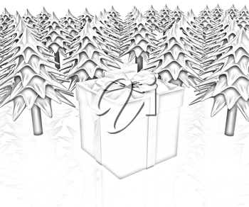 Christmas trees and gift on a white background