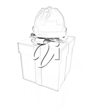 hard hat on a red gift on a white background