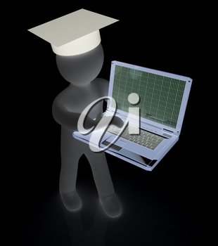 3d man in graduation hat with laptop on a white background