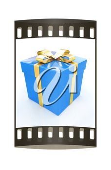 Bright christmas gift on a white background. The film strip