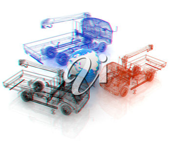 3d model truck and Earth. Global concept. 3D illustration. Anaglyph. View with red/cyan glasses to see in 3D.