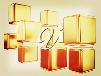 3d abstract gold cubs on a white background. 3D illustration. Vintage style.