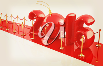 Happy new 2016 year on New Year's path to the success. 3D illustration. Vintage style.