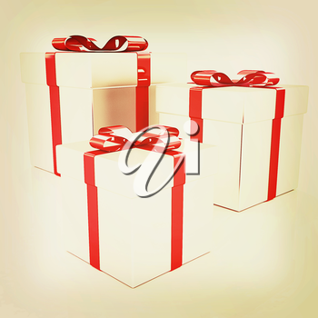 gift boxes. 3D illustration. Vintage style.