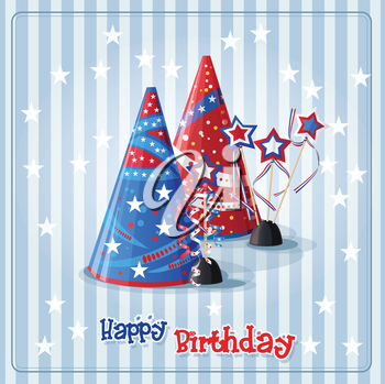 Royalty Free Clipart Image of an American Themed Birthday Background With Party Hats