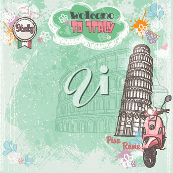 Background of Italy for your text with the image of the Colosseum, the Leaning Tower and pink moped