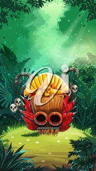 Jungle shamans mobile game user interface main window screen. Vector illustration for web mobile video game.