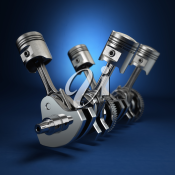 V4 engine pistons and cog on blue background. 3d