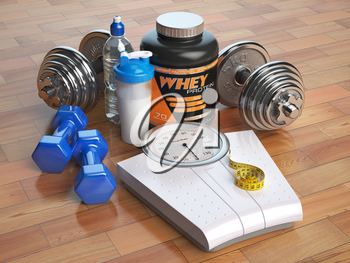 Fitness, bodybuilding or weight loss concept. Weight scales, dumbbells whey protein powder with shaker. Healthy lifestyle. 3d