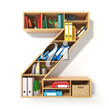 Letter Z. Alphabet in the form of shelves with file folder, binders and books isolated on white. Archival, stacks of documents at the office or library. 3d illustration