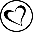 Heart icon. Black flat symbol in a circle. Love concept