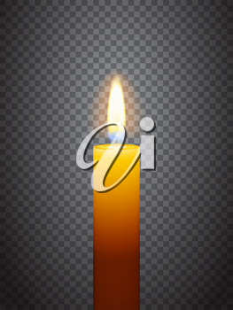 Realistic burning candle. Transparency grid. Special effect. Ready to apply to your design. Graphic element for documents, templates, posters, flyers. Vector illustration
