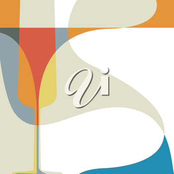 Abstract vector illustration with silhouette of wine glass.