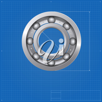 Ball bearing, isolated on the drawing background, blueprint. Vector illustration for your business