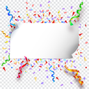 Festive background with flags, garlands and confetti on transparent background, vector illustration for your presentation, posters, cover and other design