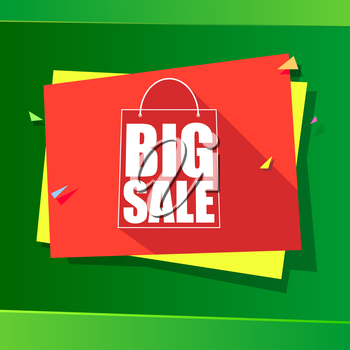 Big sale and special offer origami paper banner. Great bright background for your offers, promotional posters, advertising shopping flyers and discount banners. Vector speech bubble