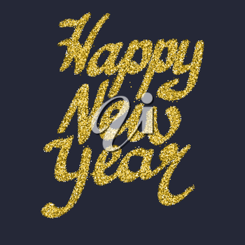 Happy New Year glitter lettering with stars and sparkles. Bright holiday vector greeting card, editable Illustration.