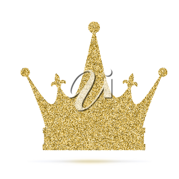 Royal crown icon with glitter effect, isolated on white background. Outline icon of royal crown. Symbols of power, vector pictogram. Symbol from golden particles dust.