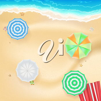 Summer background, banner with seashore, colored sun umbrellas, golden sands and beach Mat. Template, mock-up for online shopping, advertising actions, magazines and other.