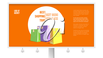 Billboard with ad of shopping tour isolated on white, background, 3D illustration. Banner with text design best brands best places. Discount action and marketing events