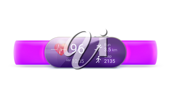 Activity tracker isolated on white background, 3D illustration. Modern mobile device. Monitor with running fitness app with clock and distance tracking function. Concept of smart watch