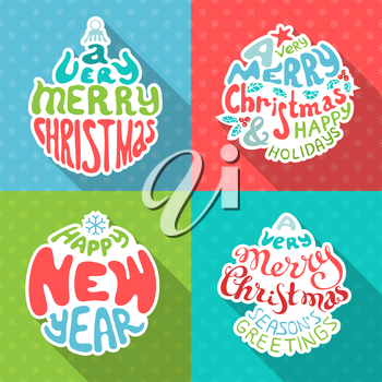 Set of four retro Christmas paper stickers with hand-written typography.