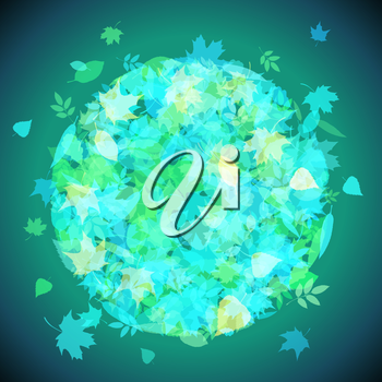 Set of various green and blue leaves on dark background. There is place for your text.