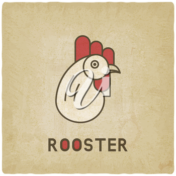 stylized head of rooster old background - vector illustration. eps 10