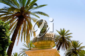 old bronze bust of general under palm trees