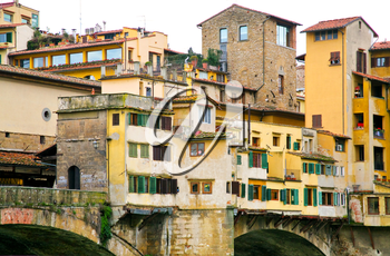 view on Ponte Vecchio in Florence from below
