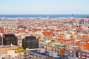 above view of living district in Barcelona evening