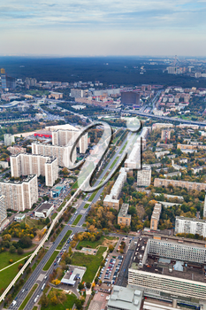above view on Prospect Mira avenue and Moscow cityscape in autumn day, Russia
