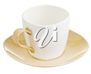 large porcelain tea cup with saucer isolated on white