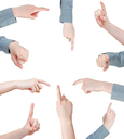 set of female pressing forefinger - hand gesture isolated on white background
