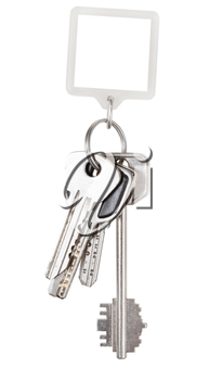 bunch of keys on ring and square keychain isolated on white background