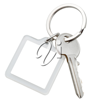 one door key and square keychain on ring isolated on white background