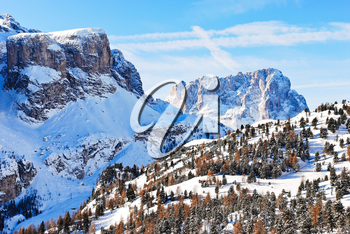 landscape with Dolomites mountain in Val Gardena, Italy