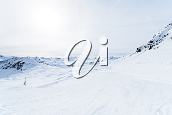 skiing tracks on snow slopes of mountains in Paradiski region, Val d'Isere - Tignes , France