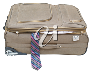 textile suitcase with fell out tie isolated on white background
