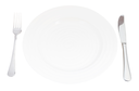 empty white plate with fork and knife set isolated on white background