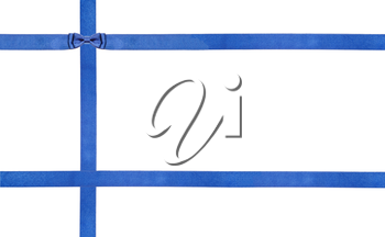 one blue satin bow knot upper left corner and three intersecting ribbons isolated on horizontal white background