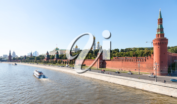 Moscow skyline - view of Beklemishevskaya Tower and Kremlin Walls, The Kremlin embankment, Kremlin buildings In Moscow in summer afternoon