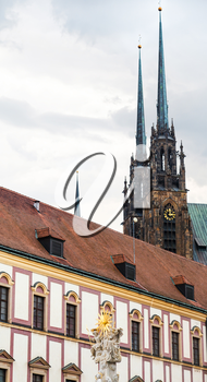 travel to Brno city - Holy Trinity Column and Cathedral of St Peter and Paul in Brno, Czech