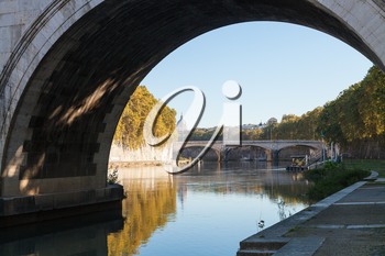 travel to Italy - view of Tiber River and bridge Ponte Umberto I in Rome in autumn morning