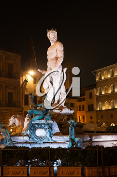 travel to Italy - Fountain of Neptune on the Piazza della Signoria (Signoria square), in Florence city in night